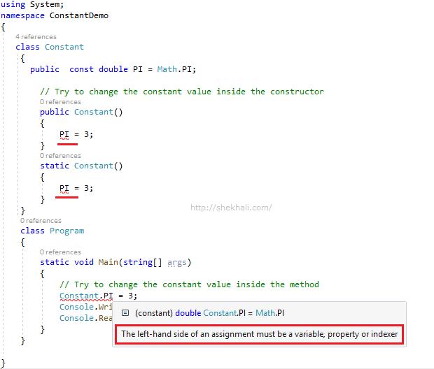 const in C#
