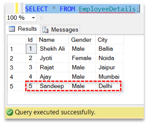 Insert record in a database table