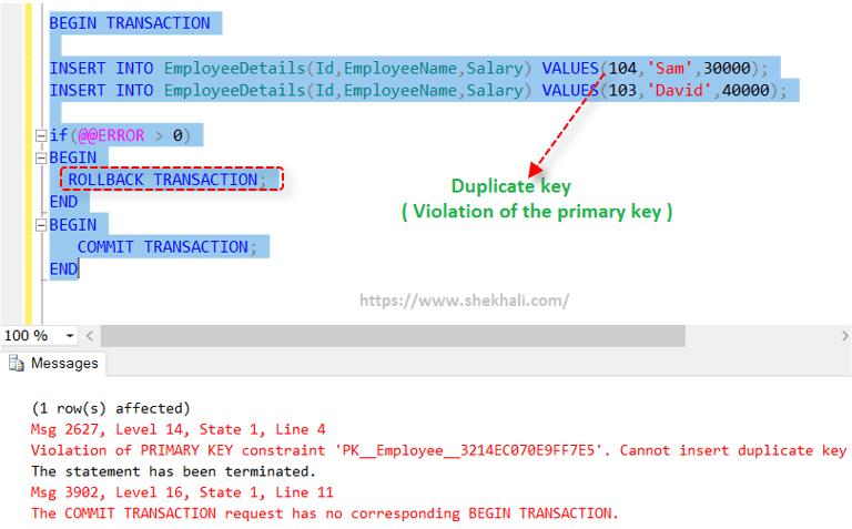 Rollback Transaction in SQL Server