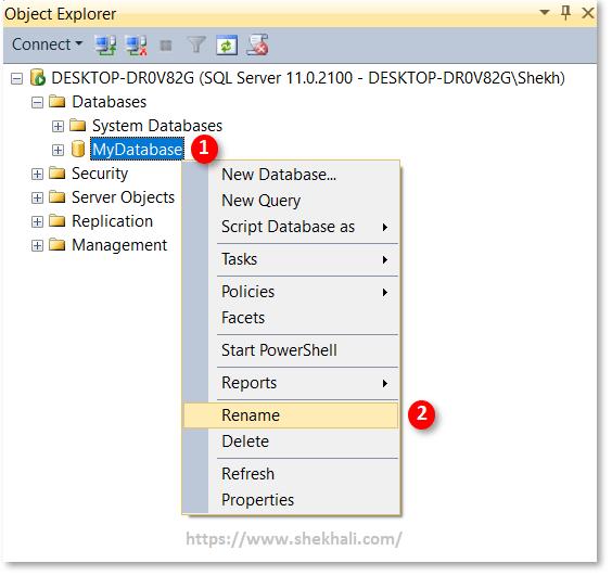 Rename database in SQL