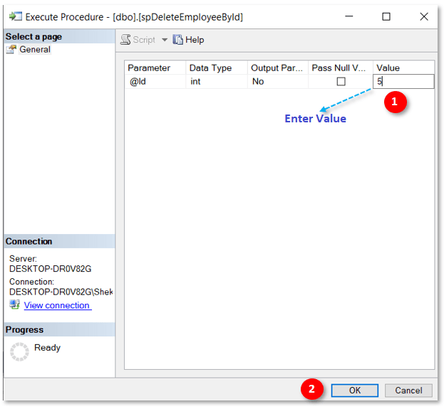 execute SQL Server procedurE in SSMS