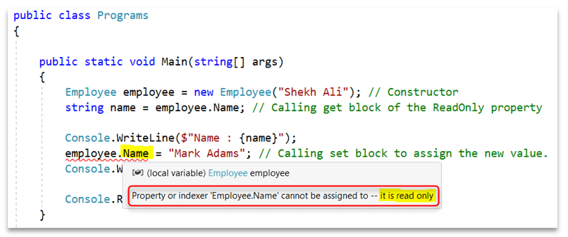 C# Read-Only Property