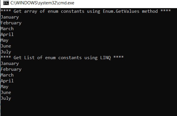 Convert enum to array and list