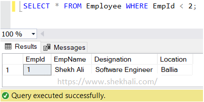 less than (<) operators in SQL server