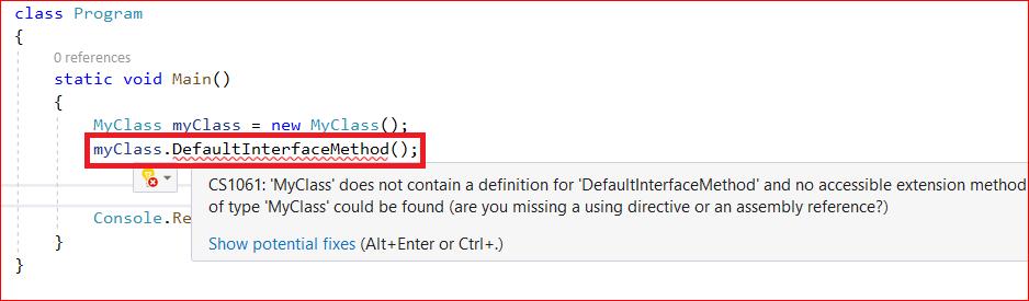 default interface method example in c#