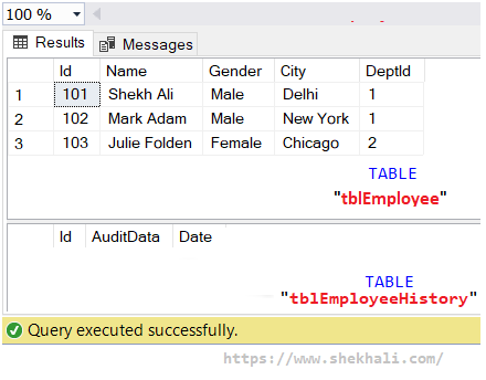 Create tables in SQL server