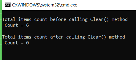 image- C# Dictionary clear method output