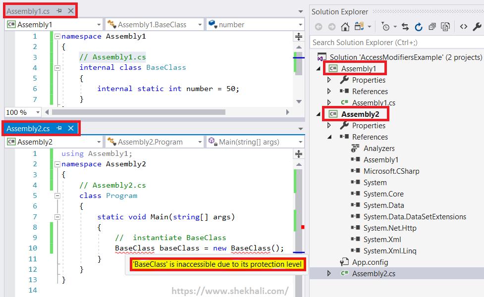 internal access modifier in C#